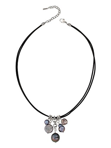 Chan Luu Peacock Blue Cultured Freshwater Pearls and Sterling Silver Drops Black Double Cord Necklace Chan Luu Pearl And Silver Necklace