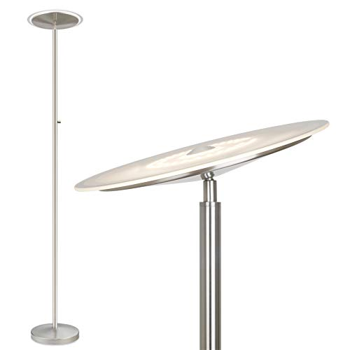 "Kira Home Horizon 70"" Modern LED Torchiere Floor Lamp (36W, 300W eq.), Glass Diffuser, Dimmable, Timer and Wall Switch Compatible, Adjustable Head, 3000k Warm White Light, Brushed Nickel Finish"