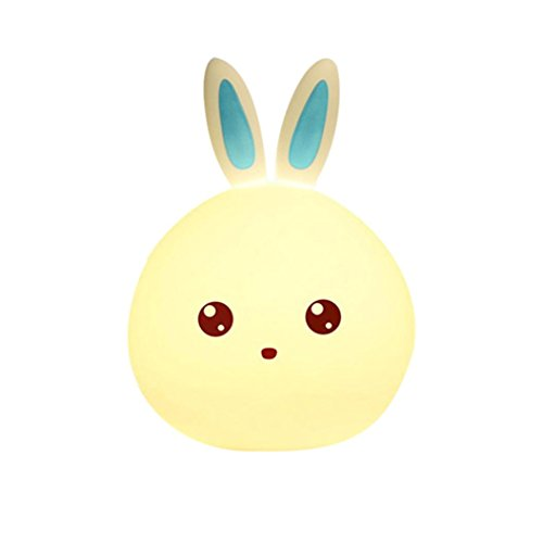 Price comparison product image Mchoice Lovely Rabbit Smile Face Night Light Children Bedroom Decor Mini LED Lamp Bulb (Blue)