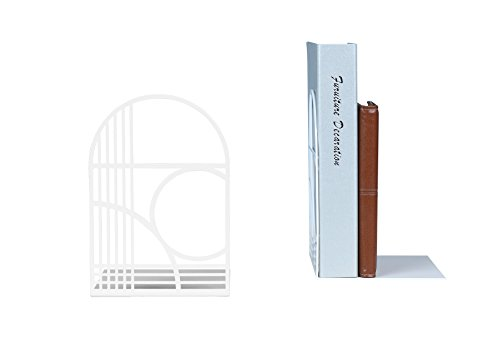 Unique Office Bookends - Modern Brand Design Metal Book Ends for Large and Tall books (White)