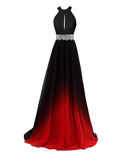 - Beaded Top Gradient Color Evening Gowns Chiffon Bridesmaid Dress Red&Black C 2