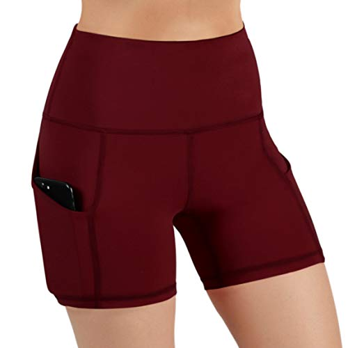 ODODOS High Waist Out Pocket Yoga Short Tummy Control Workout Running Athletic Non See-Through Yoga Shorts,Wine,Medium