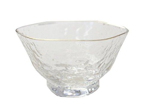 Gold Textured Rim - Sake Glass Clear Textured w/ Gold Rim 65ml, 2.8