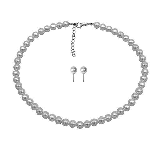 Big Faux Pearl - Femtindo Faux Pearl Necklace and Earring Set for Women Wedding Bridal Jewelry (8mm)