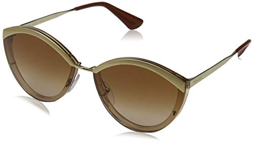Prada Catwalk PR 07US 726088 Sand Gold Brown Metal Oval Sunglasses Brown Gradient Lens