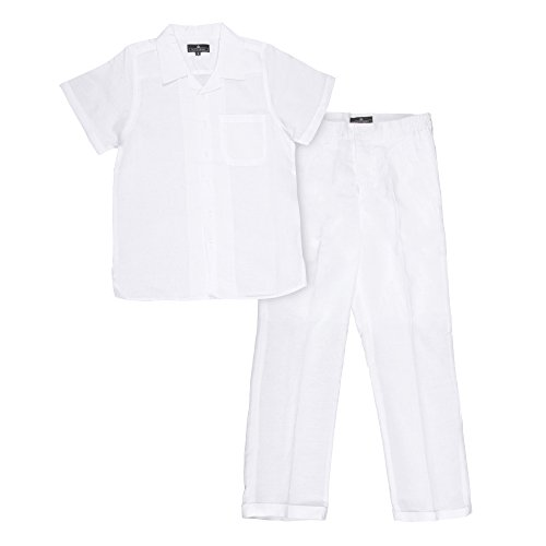 Vittorino Boy's Summer Linen 2 Piece Set With Pants and Short Sleeve Shirt, White, Small (8)