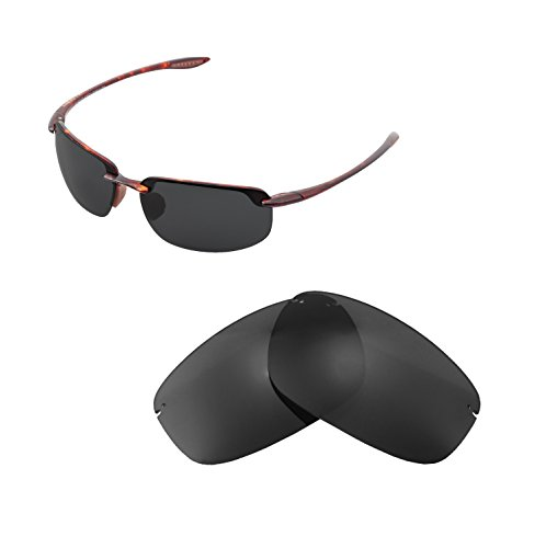 Walleva Replacement Lenses For Maui Jim Ho'okipa Sunglasses - Multiple Options available (Black - - Replacement Jim Maui Lens