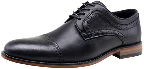 - VOSTEY Men's Dress Shoes Retro Leather Cap Toe Formal Oxford Shoes (12,Black)