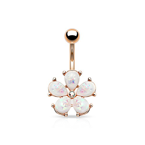 Blue Palm Jewelry 14 Gauge 3/8 Inch 316L Surgical Steel Barbell Synthetic Opal Glitter Petals with CZl Center Flower 316L Surgical Steel Belly Button Navel Rings B578 (Rose Gold Ion)