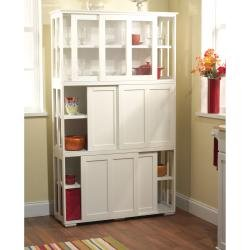 Simple Living Antique White Sliding Door Stackable Cabinet by Simple Living Products