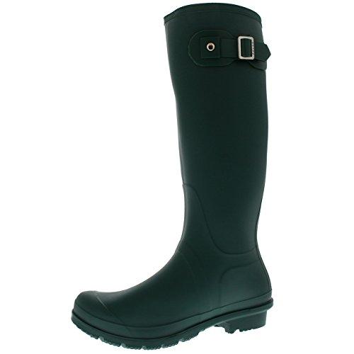 Polar Products Womens Snow Tall Waterproof Rain Muck Dog Walking Buckle Wellington Boot - Green - US9/EU40 - - Wellington Shop Green