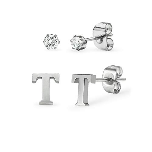 (Stainless Steel Silver Tone Alphabet Initial Letter Tiny Earring Studs With Cubic Zirconia 3mm Set Letter T)