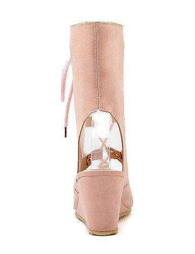 ShangYi Womens Shoes Heel Heels / Peep Toe Sandals / Heels Outdoor / Dress / Casual Black / Pink / Almond / Beige/M606 Black