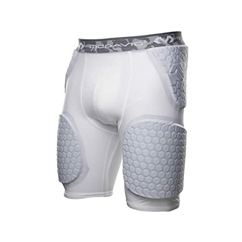 McDavid Hex Short with Contoured Wrap Around Thigh, Medium, White (Padded Compression Shorts Mcdavid)