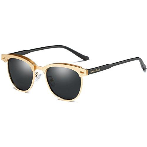 SamuRita Polarized Half Frame Clubmaster Sunglasses Horn Rimmed Overlap Metal Frame Eyewear(Black Lens/Gold - Black Clubmaster Gold And