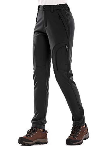 Women's Fleece Lined Outdoor Cargo Hiking Pants Water Repellent Softshell Snow Ski Pants with Zipper Pockets
