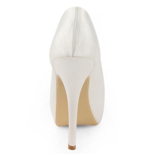 Aiguille IP PlateForme Satin Blanc Mariage En Ouvert Chaussures Fleur EP11091 Elegantpark De De Bout Talon Femme 5Pzwqp