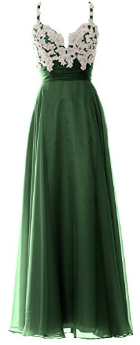MACloth Women Straps Sweetheart Lace Chiffon Long Prom Dress Formal Evening Gown Verde Oscuro