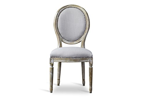 Baxton Studio Clairette Beige Linen French Style Natural Oak Wood Accent Chair, Oval Back