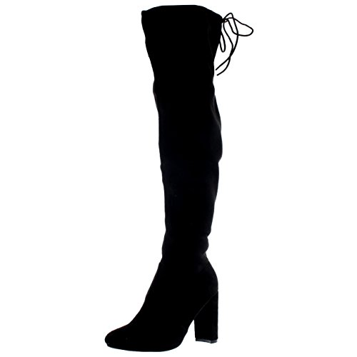Womens Wide Fit Stretch Long Thigh High Winter Riding Block Heel Boots - Black - US8/EU39 - (Knee High Stretch Boot)