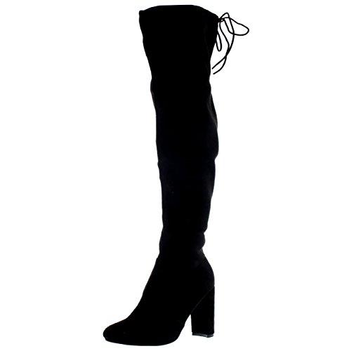 Black Stretch Thigh High Boots (Womens Wide Fit Stretch Long Thigh High Winter Riding Block Heel Boots - Black - US8/EU39 - KL0074)