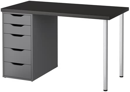 Amazon Com Ikea Computer Table With Drawers Black Brown Gray 47