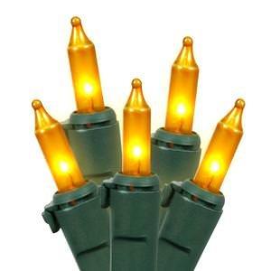 Vickerman W4G1007 100 Light Set Gold Mini-Lights on Green Wire