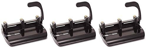 - Officemate Heavy Duty Adjustable 2-3 Hole Punch with Lever Handle, 32-Sheet Capacity, Black (90078) (Pack of 3)