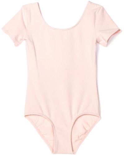Danskin Big Girls' Short Sleeve Leotard, Petal Pink, Large - Leotard Danskin Sleeve Short