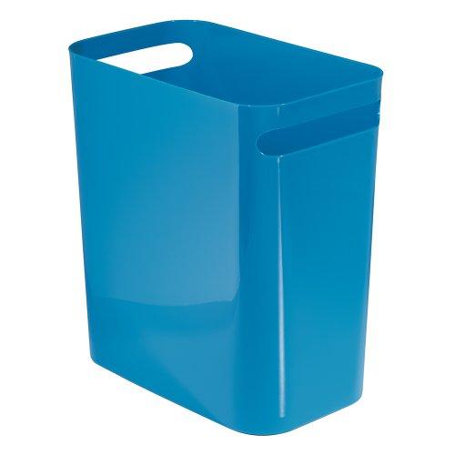 InterDesign Una Papelera de reciclaje con asas, cubo de basura de plastico, papelera de oficina, cocina o bano, azul