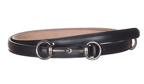 Gucci Women's Black Leather Horsebit Buckle Skinny Belt, 38, Black by Gucci