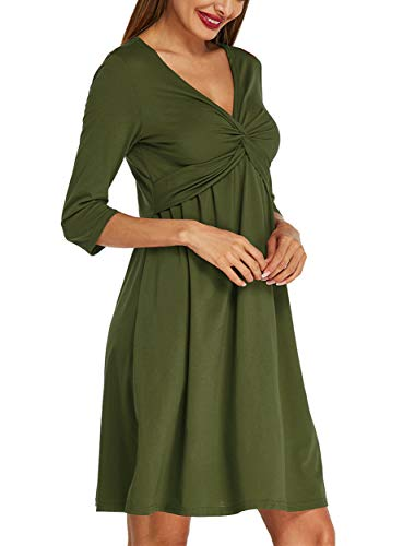 Empire Dress Front (ACHIOOWA Womens Casual Party Midi Dress 3/4 Sleeve V Neck Twist Knot Front Flowy Empire Waist Tank Dress Army Green XL)