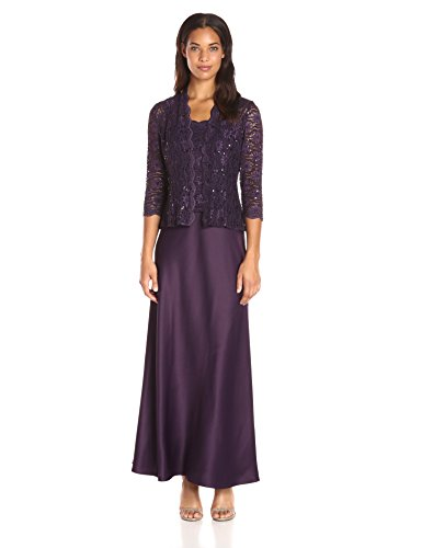Alex Evenings Women's Long A-Line Mock Jacket Dress with Open Jacket and Scallop Sequin Detail, Eggplant, 6