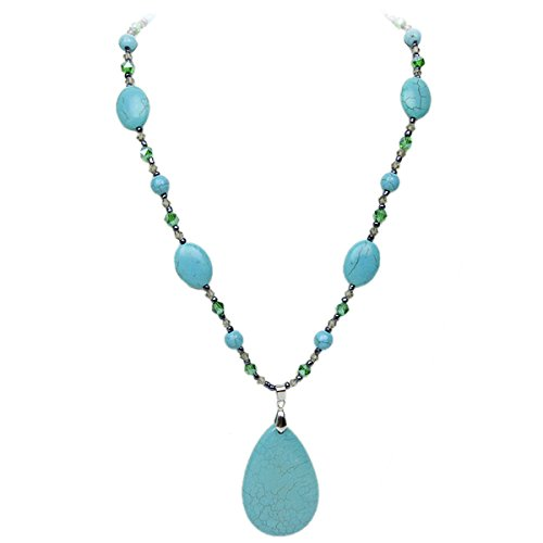 Stunning Green Simulated Turquoise Howlite and Multi Gemstones Crystals Necklace