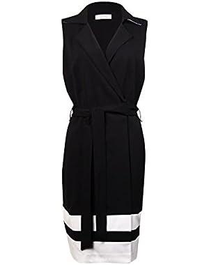 Calvin Klein Women's Belted Striped-Hem Zip Wrap Dress