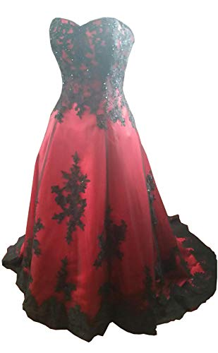 Vivian's bridal Women's Long Satin Wedding Dress Suicide Squad Harley Quinn Cosplay Costume Formal Party Evening Gown Black&Red 26 Plus -
