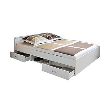 Función cama alawis 140 * 200 cm color blanco, incluye 2 Roll de cajones de cama cuna cama juvenil - Tumbona Cama Cama Infantil juvenil habitaciones: ...