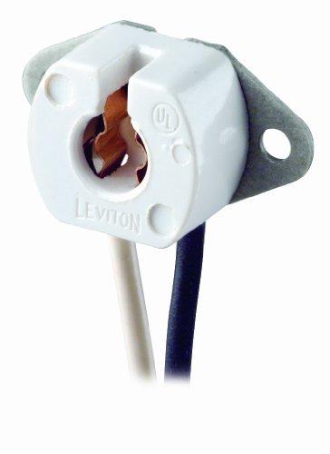 Leviton 420-W Miniature Base, Bi-Pin, Standard Fluorescent Lampholder, Butt-On, Screw Mount, Turn-Type, 6-Inch 18-AWM TEW Wire Leads, White
