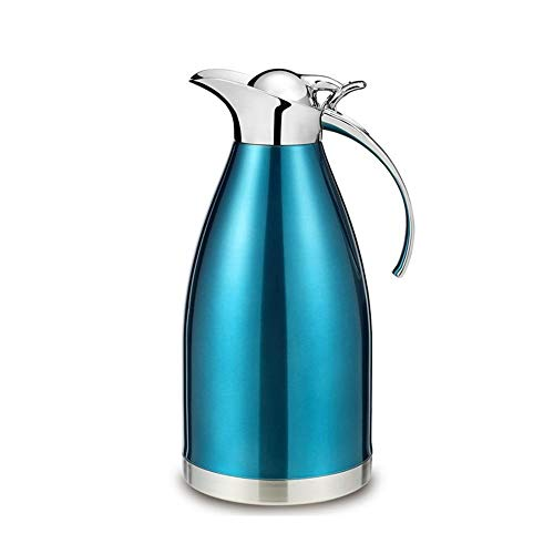 Thermal Jug Thicken Stainless Steel Heat Kettle Vacuum Insulated Coffee Pot, 2L Thermal insulation drink kettle, Blue