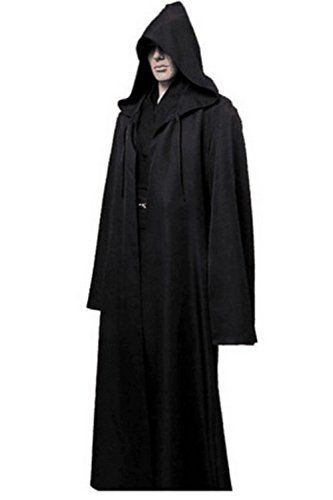 Black Knight Halloween Costume (Wonderoy Men's Halloween Costume Cosplay Knight Hooded Robe Cloak Cape XL Black)