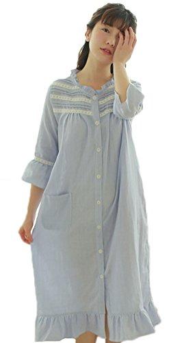 Button Sleepshirts Blue With New Dresses Cotton Pockets Women's Soojun Down Pyjamas X8pnBxvw