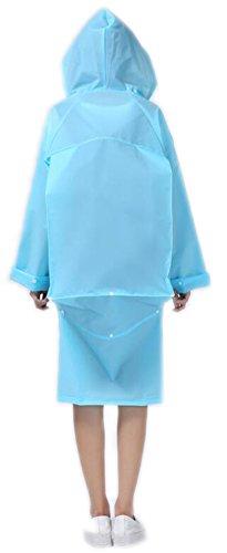 Oktober Elf Damen Damen Kapuzen Regenmantel EVA Regenjacke Poncho mit Tasche Abdeckung (L, blau)