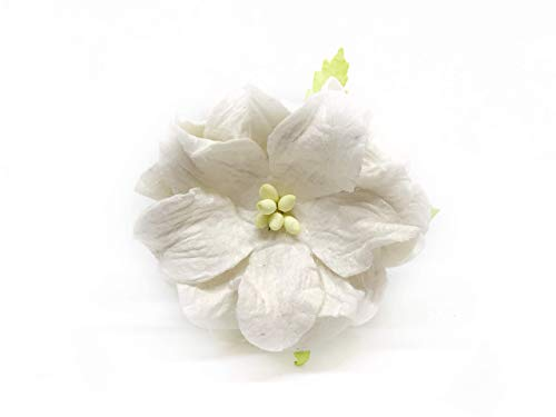 1.5 inch Off-White Mulberry Paper Flowers with Wire Stems, Gardenia Flowers, Mini Paper Flowers, Wedding Decoration Craft Scrapbooking Flowers Bouquet 12 Pieces from Savvi Jewels