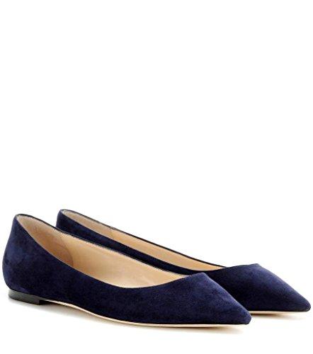 Flats Simple Style Ballet Classic Wedding Navy Shoes Heel Eldof Pumps Slip Toe Pointed Low Womens's On Dress Ballerinas Hp5qE