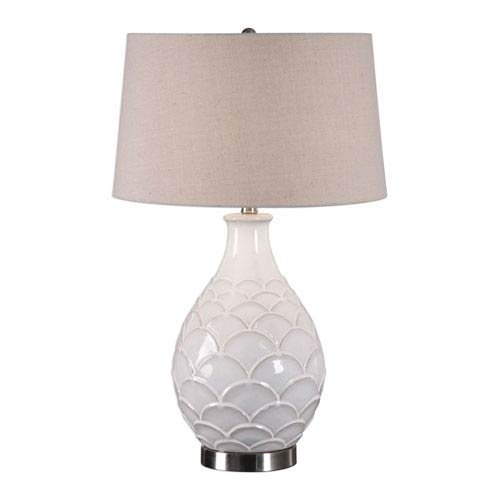 Uttermost Camellia Distressed Gloss White Ceramic Table Lamp - Table Lamp Hudson Transitional