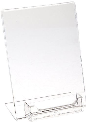 Displays2go Clear Acrylic 5x7 Sign Holder with Business Card Pocket, Tabletop with Slant Back (ASH57BCC) (Sign Pocket)