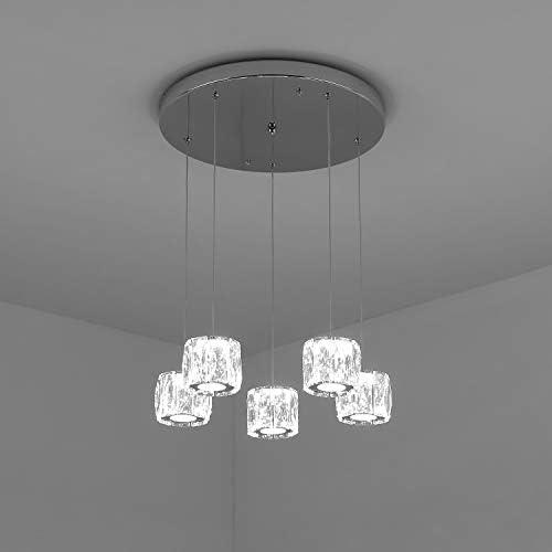 Temgin Pendant Lighting 5 Lights Chandelier Crystal LED 15W Adjustable Height Ceiling Light Fitting Modern for Dining Room Kitchen Hallway Cool White