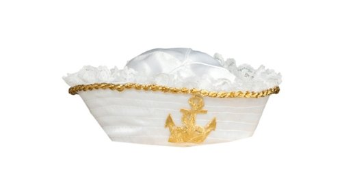 Womens Sailor Hat (Rubie's Costume Womens Mini Sailor Hat With Gold Anchor, White/Gold, One Size)