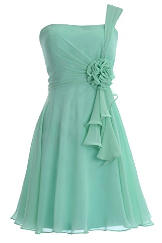 MACloth Women One Shoulder Short Bridesmaide Dress Wedding Cocktail Party Gown Menta