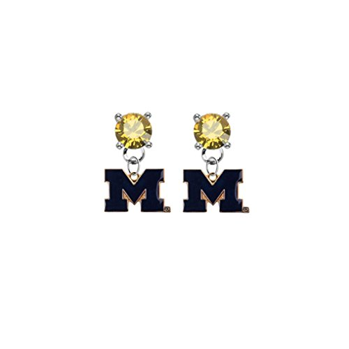 Michigan Wolverines Style 2 Gold Crystal Stud Post Dangle Earrings